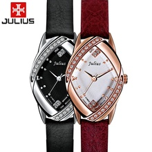 New luxury noble ladies leather wristwatch women dress rhinestone watches fashion casual quartz watch Top brand Julius 660 clock