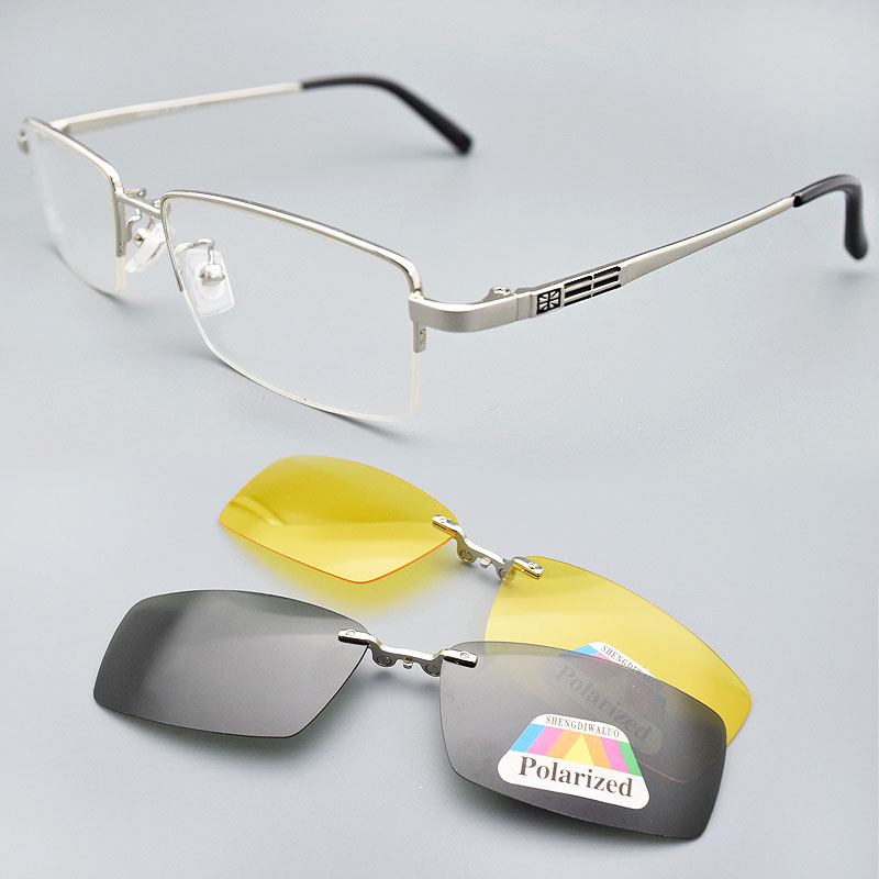 Glasses Frame For Men 2PCS Magnetic Clip on Sunglasses UV400 Yellow Polarized Night Vision Goggles Silver