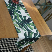 Nodic Leaf Print Table Runner Flag Modern Tablecloth TV Cabinet Cover for Wedding Banquet Party Home Decoration Tafelloper