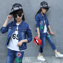 2018 new princess girl spring and autumn fashion children's clothing set baby girl floral print denim coat+jeans leisure suit