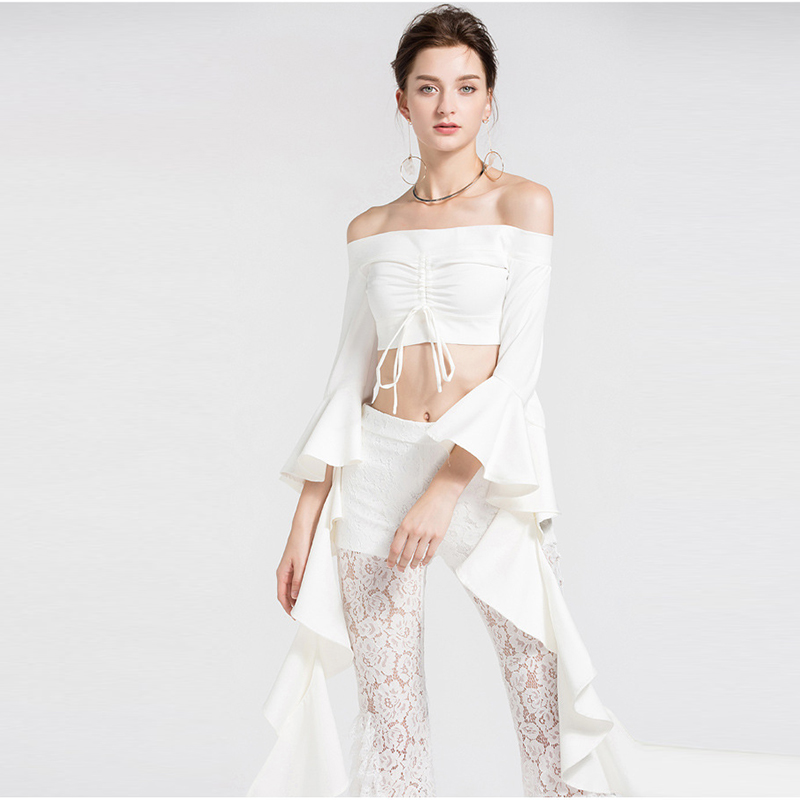 Mujeres Cuello Moda Blusa Diseñador Crop Nueva Mariposa Slash 2018 Top High Manga Street qng8YqH