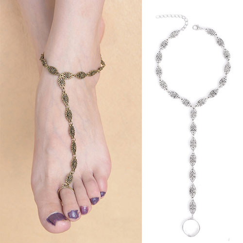 Women Retro Hollow Flower Toe Ankle Chain Sandal Anklet Foot font b Jewelry b font Antique