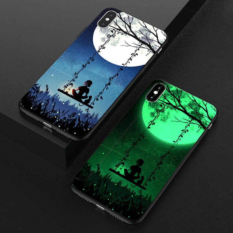 Luxury <font><b>Luminous</b></font> Painting <font><b>Case</b></font> for <font><b>iPhone</b></font> XS X 8 7 Plus + Tempered Glass <font><b>Case</b></font> Night Light Back Cover for <font><b>iPhone</b></font> <font><b>6</b></font> 6S Plus <font><b>Cases</b></font> image