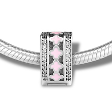 CKK Original Pandora Bracelet Silver Charm 100% 925 Sterling Silver Pink Four-Leaf Clover Beads DIY Jewelry geoki 925 sterling silver rose gold white cubic zirconia clover silicone safety chain fit original pandora bracelet leaf charm