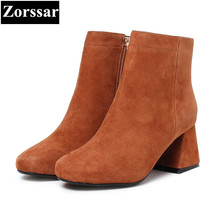{Zorssar} 2017 NEW fashion High heels Women Martin Boots Round Toe thick heel suede ankle boots autumn winter female shoes
