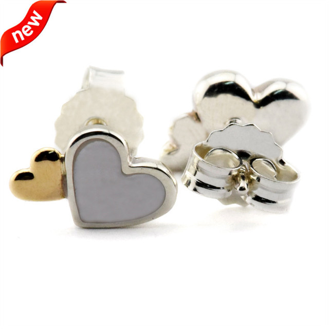 Luminous Hearts Stud Earrings With Mother Of Pearl and 14K Real Gold 100% authentic 925 Sterling SilverJewelry Free Shipping