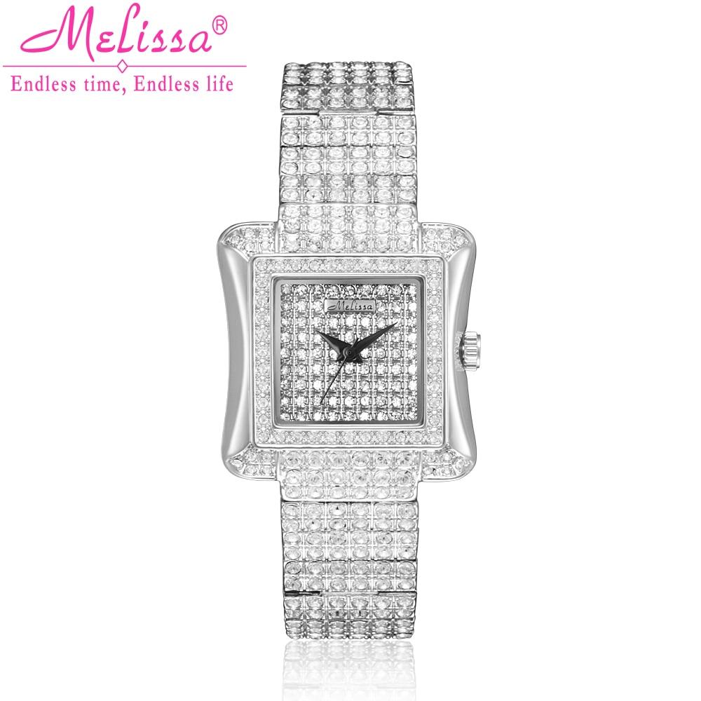 Luxury Melissa Lady Women's Watch Elegant Full Rhinestone CZ Fashion Hours Bracelet Crystal Clock Girl Birthday Gift Box цена и фото