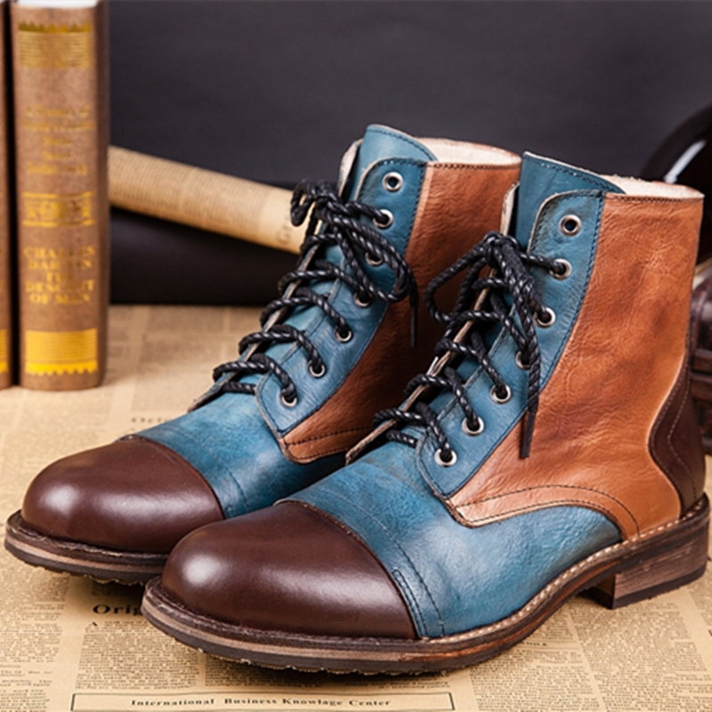 2017 Fashion Mixed Color Lace up Ankle Boots Spiked Pointed Toe ...