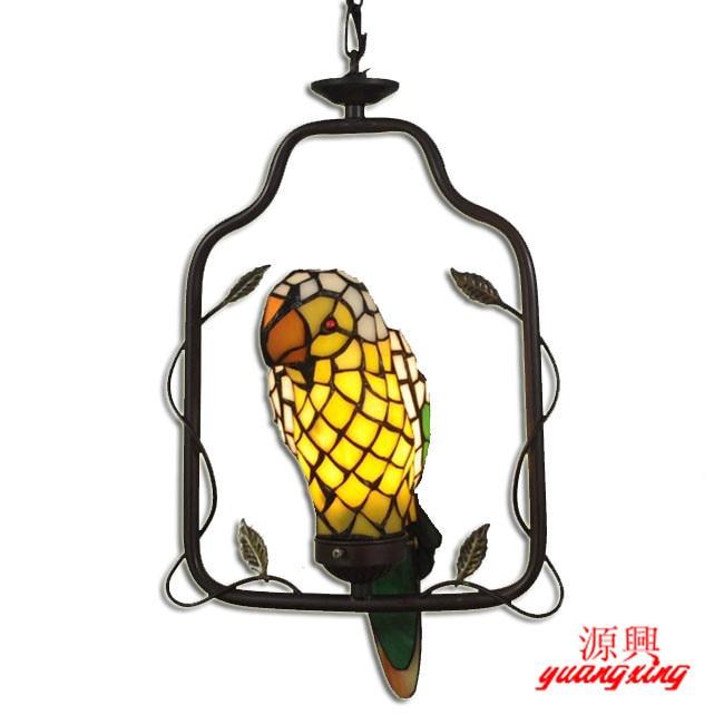 Cheap Tiffany lamp pastoral animal parrot book tenant household Pendant Lights hanging bar restaurant DF42 tiffany parrot corridor lamp hanging creative decorative lamp handmade art limited special lamp df42