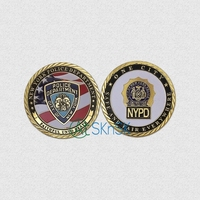 1Pcs Gold Plated Coin New York Police Department Army Challenge Coins For Collection United State Coin with case free shipping