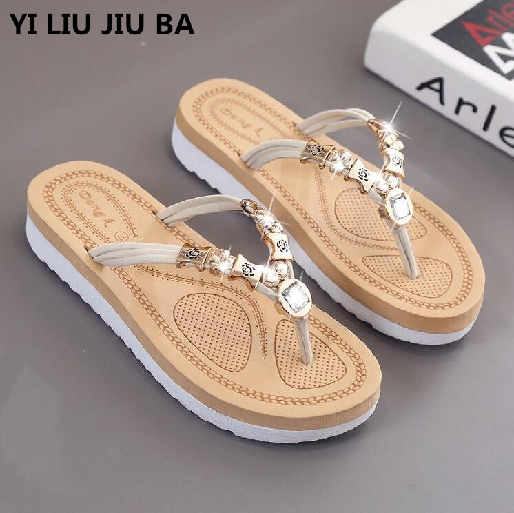 plus size 35-42 new Summer fashion Rhinestone Women Flip Flops Shoes Sandals Slipper outside Beach Slipper zapatos mujer **361