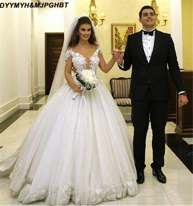 Illusion Long Sleeve Muslin Dubai Ball Gowns Wedding
