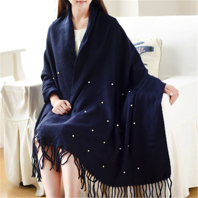High Quality Winter Spring Fashion Wool Scarf Women 2016 Solid Thick Warm Knitted Scarves Pearl decorated Ladies Scarfs Shawls
