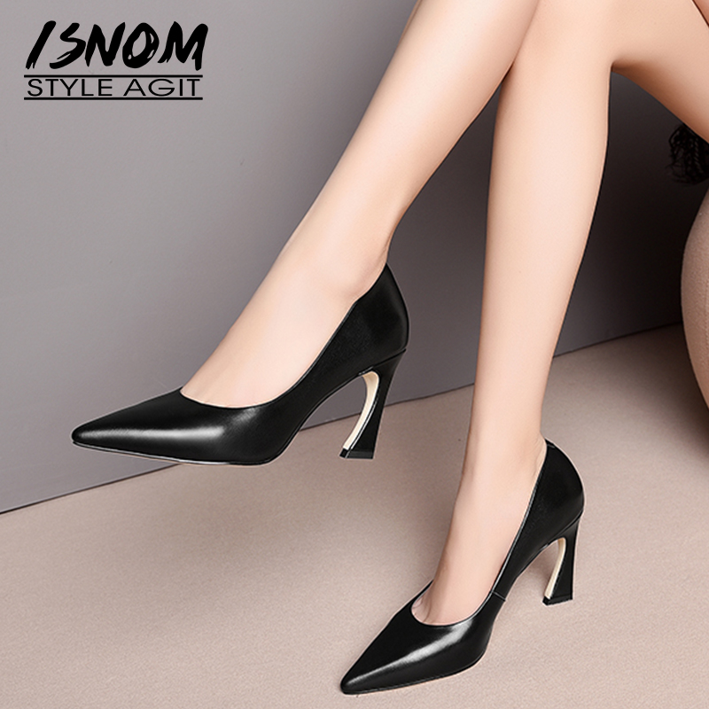 ISNOM High Heels Pumps Women Pointed Toe Footwear Genuien Leather Shoes Female Office Shallow Shoes Woman