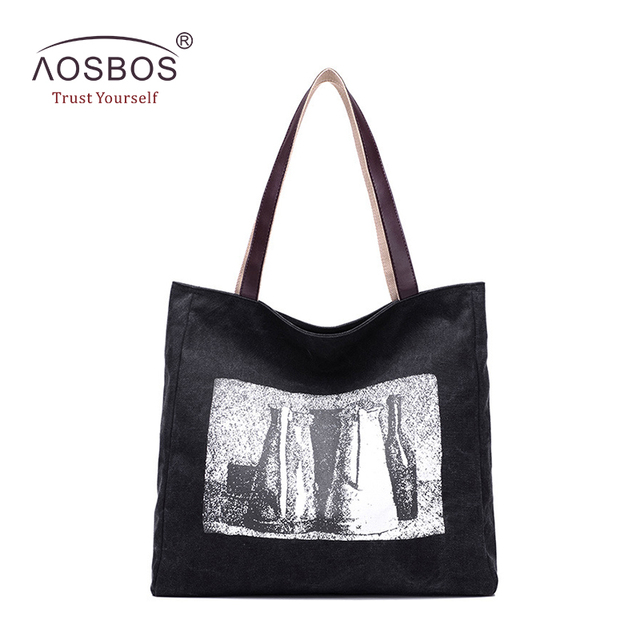 f3e362b7eb5c Aosbos Fashion Print Canvas Tote Bag Women Casual Beach Bags Female Daily  Use Single Shoulder Bags for Shopping Large Handbags