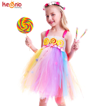 Pom Pom Design Sweet Candy Lollipop Girls Tutu Dress Kids Rainbow Fairy Summer Dress Children Birthday Photo Costume Outfit недорого