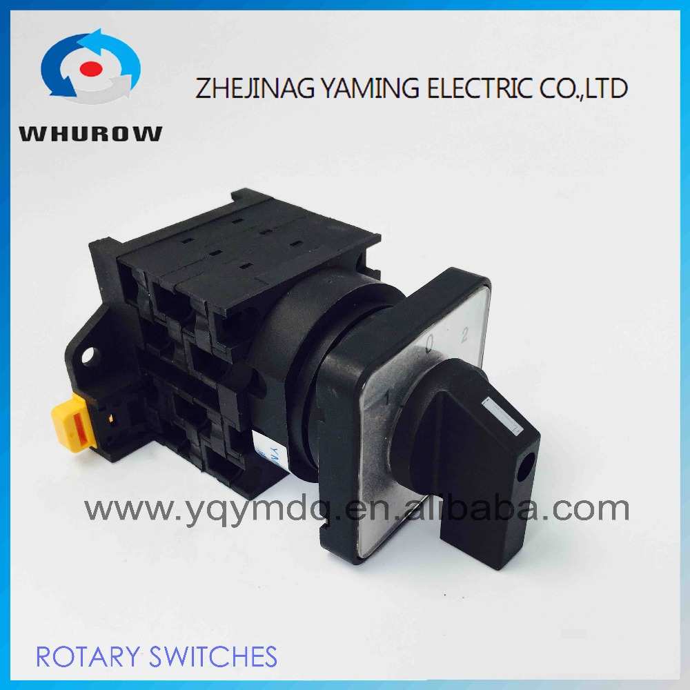 rotary universal switch 3 position Cam switch manual switch industrial DIN rail black 3 poles 32A 12 terminal YMW42-32/3 load circuit breaker switch ac ui 660v ith 80a on off 2 position 3 poles 3 phases 3no universal rotary cam changeover switch