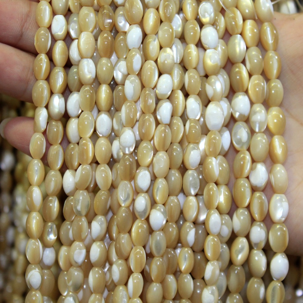 Beige-Beads Shell-Stone Jewelry-Making Rice-Shape Natural Necklace Diy Bracelet for 5--8/6--9-Mm