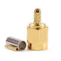 Areyourshop sma macho friso rg174 rg316 lmr100 cabo em linha reta 50 ohm 10 pçs chapeamento de ouro conector tomada