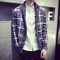A cuadros Otoño 2015 Estilo Coreano de los hombres Suéteres de la Marca de Calidad de Punto de Algodón Para Hombres Con Cuello En V Suéter Del Suéter Envío Gratis
