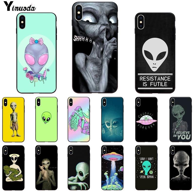 Yinuoda Alien Believe UFO ET cute Emoji Soft Rubber black Phone Case for iPhone X XS MAX 6 6S 7 7plus 8 8Plus 5 5S XR