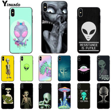 Yinuoda Alien Believe UFO ET cute Emoji Soft Rubber black Phone Case for iPhone X XS MAX 6 6S 7 7plus 8 8Plus 5 5S XR