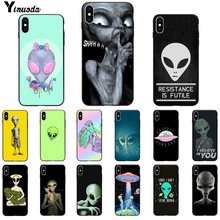 Yinuoda Alien Believe UFO ET cute Emoji Soft black Phone Case for iPhone X XS MAX 6 6S 7 7plus 8 8Plus 5 5S XR 11 11pro 11promax