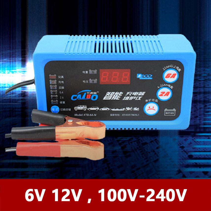 6V 12V Car Motorcycle Battery Charger LCD Voltage Capacity Display 2A 6A Lead Acid AGM 110V 220V Auto Motor 6 V 12 Volt Moto EU|Chargers| |  - title=
