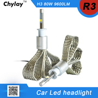 One Set H3 LED Car Headlight Lamp R3 80W 9600lm 6000K White Bulb Auto Front Lamp