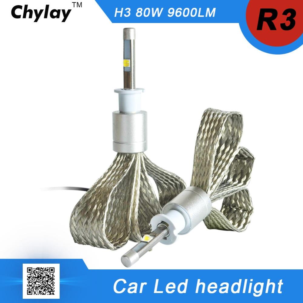 one set  H3 LED Car Headlight lamp R3 80W 9600lm 6000K White bulb Auto Front lamp Automobile Headlamp Conversion Kit car light mitsubishi 100% mds r v1 80 mds r v1 80
