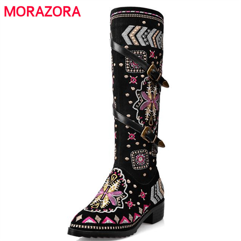 MORAZORA Cow suede leather boots women buckle botas snow boots zipper embroidery Cow Split sutumn knee