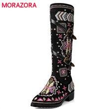 MORAZORA COW หนังนิ่มหนังรองเท้าผู้หญิงหัวเข็มขัด botas หิมะรองเท้าบูทซิปเย็บปักถักร้อยวัวแยก sutumn เข่าสูงรองเท้าขนาด 34  43
