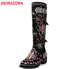 MORAZORA Cow suede leather boots women buckle botas snow boots zipper embroidery Cow Split sutumn knee high boots size 34 43