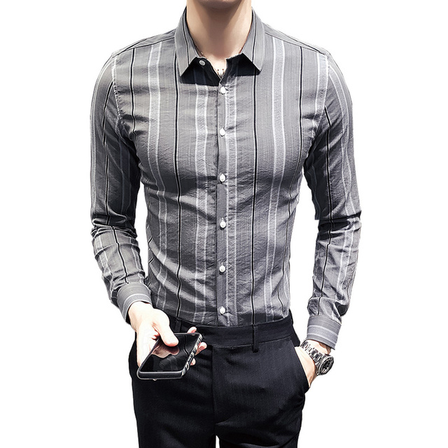 Fashion Casual Men's Long-sleeved Shirt Spring And Autumn New Stripes Slim Shirt Khaki Dark Gray Personality Youth Popular Tops