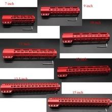 Купить с кэшбэком Chinese Red 7'' 9'' 10'' 11'' 12'' 13.5'' 15'' Clamp Stlyle KeyMod Handguard Free Front Hand guard Rail System Free Shipping