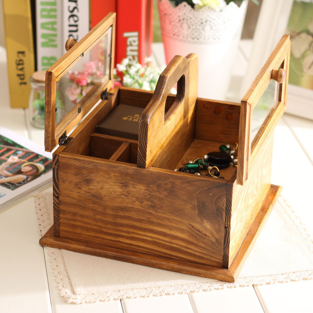 Awesome Women Desktop Vintage Storage Boxes Wooden Storage Holder Cosmetic Box  Jewelry Organizer Wooden Sundries Container Boxes