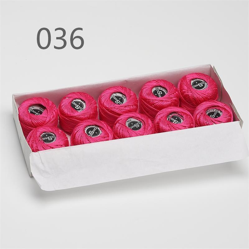 5 граммов размер, 8 жемчужных хлопковых нитей для вышивки крестиком, 43 ярдов на шарик, Двойной Мерсеризованный длинный штапельный хлопок, 10 шт./col - Цвет: 036