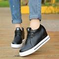 Классический Черный Белый 6 см Высота Увеличение женские Вулканизируют Обувь 2016 Новое Прибытие Повседневная Босоножки Твердые PU кожаные Ботинки Женщин