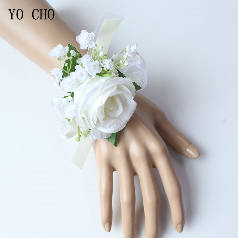 YO CHO Artificial Silk Roses White Bridal Wrist Flowers Bridesmaid Wrist Corsage Bracelets Supplies Groom Boutonnieres Wedding