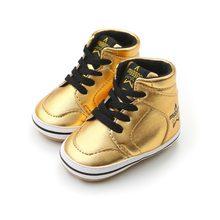 cfe018b22 Alta-top PU Strap Casual Masculino Bebê Criança Fundo Macio Sapatos de Ouro  Preto Branco