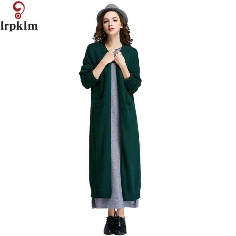 2017 Autumn Winter Hot Top Quality Causal Loose Clothes Long Sweater Coat Women Knitted Cardigan Female Coat LZ218