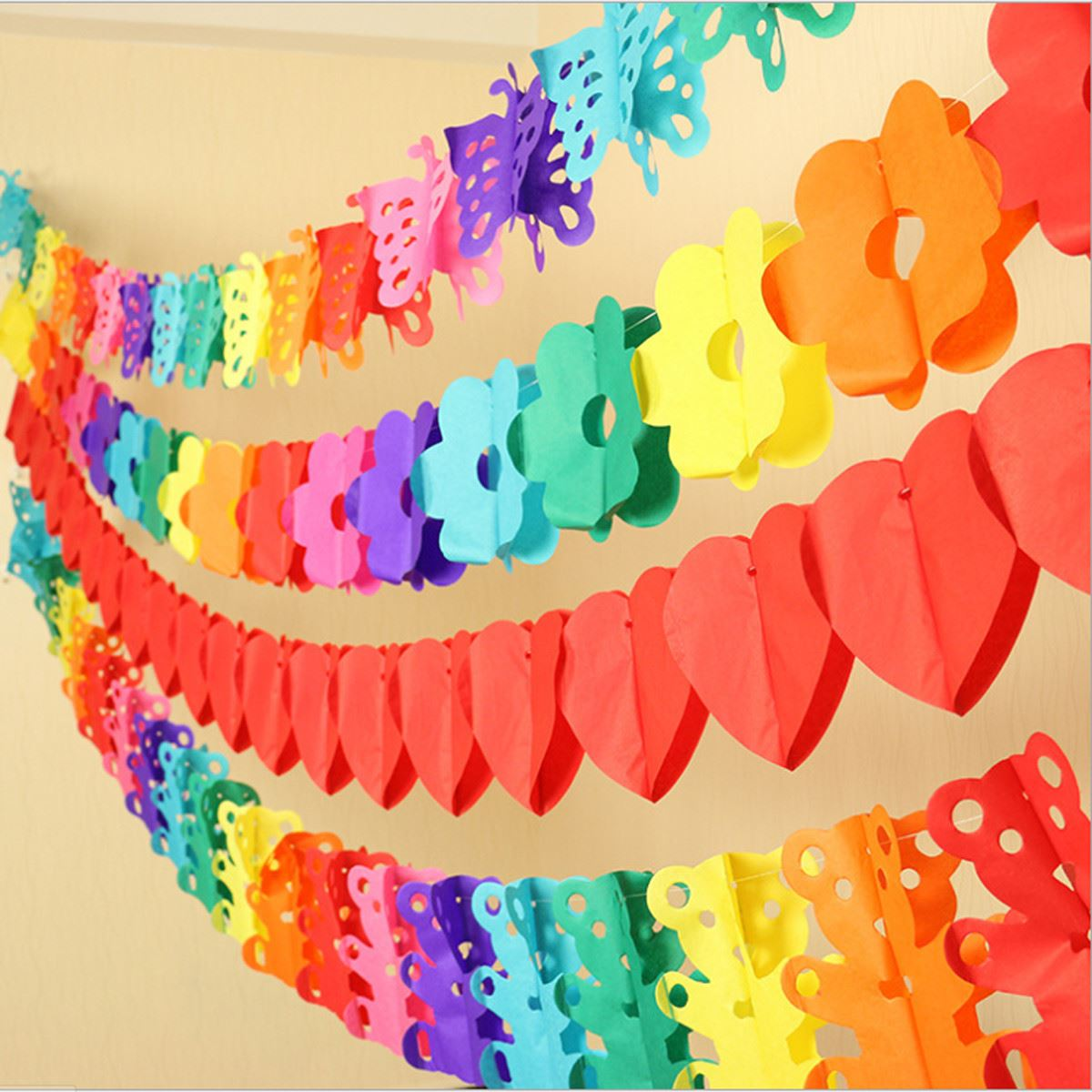 Rainbow Hanging Banner Paper Chain Bunting Flower Wedding Birthday