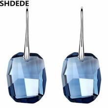 Высокое Качество Ювелирных Изделий 18 К Белый Позолоченный Big Blue Кристалл с Элементами swarovski Лонг Water Drop Мотаться Серьги Для женщины