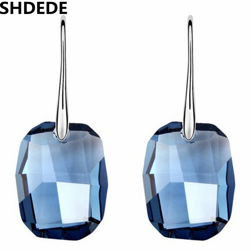 SHDEDE High Quality Big Blue Crystal from Swarovski Long Drop Dangle Earrings For Women Vintage Fashion Jewelry -5322 shdede многоцветный