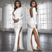цена CUERLY backless women sexy long party dress CUERLY spring long sleeve high side split bodycon maxi dress elegant white black