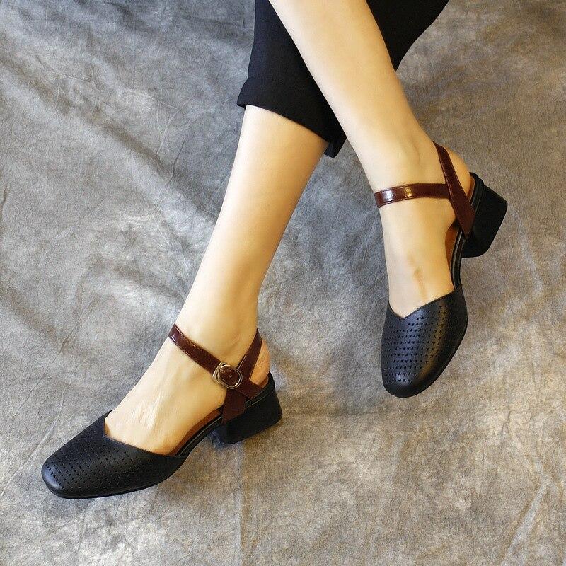 De Sandalias Tacón Genuino 3 Blanco Zapatos Clásico Bajo Mujeres WYEH2Deb9I