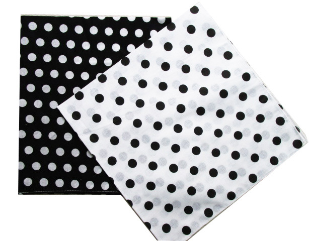 Free Shipping 2019 New Fashion Cotton Black White Polka Dot Bandanas Headwear/Hair Band Scarf For Women/Mens Girl /Boys Kids