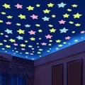 3D светящиеся звезды 100 шт./лот 3 см, светящиеся в темноте настенные наклейки для детской комнаты, художественная роспись, домашний декор, звез...