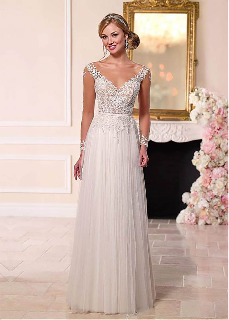 2019 Wedding Dress Long Sleeves Lace Appliques Beach Bride Dress Sexy Backless skin Tulle Top White Ivory Boho Wedding Gown in Wedding Dresses from Weddings Events