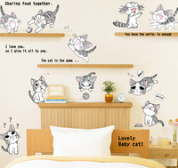 Super Cute Lovely Naughty Cat Removable Wall Stickers Children Bedroom Sitting Living Room Decoration Office Public
